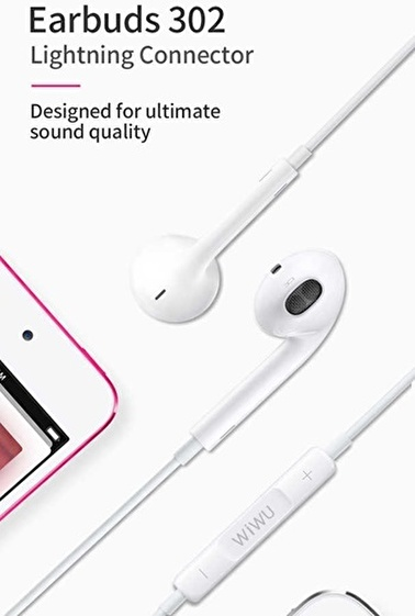 Wiwu Earbuds 302 Apple iPhone Lightning Portlu Stereo Kulaklık Beyaz